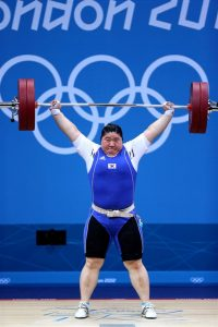 2012 London Olympic Games Mi-Ran Jang of South Korea competes during the women's +75kg event at the London 2012 Olympic Games Weightlifting competition, London, Britain. 2012.08.06. Photo by Korean Olympic Committee Ministry of Culture, Sports and Tourism Korean Culture and Information Service -------------------------------------- 2012 런던 올림픽 여자 +75kg급에 출전한 장미란 선수 사진제공 - 대한체육회 문화체육관광부 해외문화홍보원